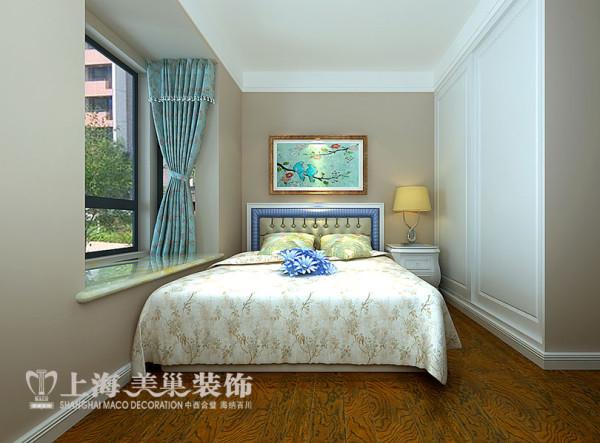 建业贰号城邦美式乡村装修89平三室两厅案例效果图——卧室
