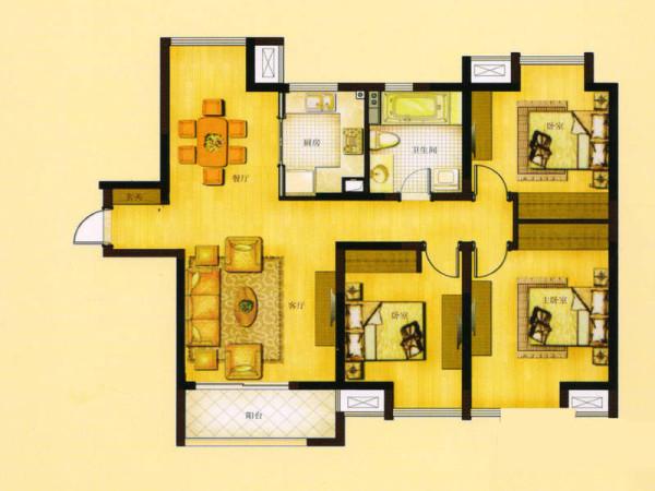 禹洲天境-126平米-欧式风格装修-户型图