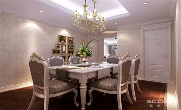 餐厅设计: 因为整体空间为白色所以地板的颜色选的稍微深一点,让整体空间感觉不会飘