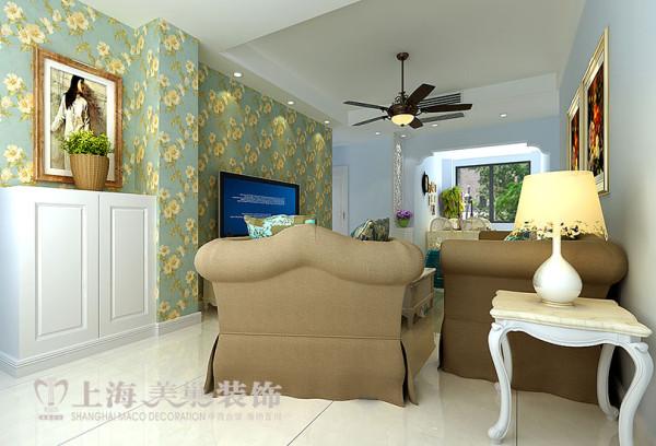 建业贰号城邦89平美式乡村三室两厅装修案例效果图——客厅电视背景墙效果图