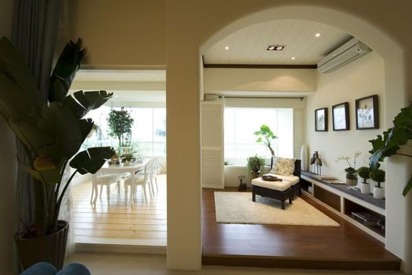 休闲厅的设计,简单的一把单椅搭配着矮柜和台面层次感的饰品,一种完美和谐的感觉油然而生。
