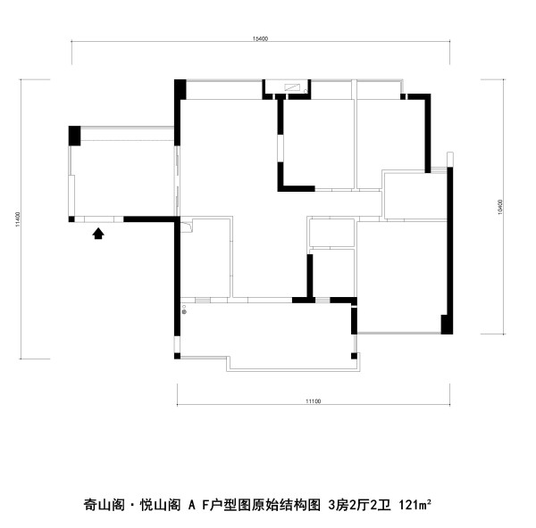 奇山阁·悦山阁A F户型图原始结构图 3房2厅2卫 121m²