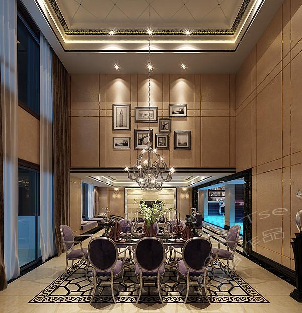誉峰别墅装修设计:新古典餐厅装修效果图