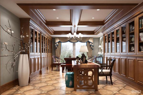 东山国际别墅装修书房:清雅细腻纹理的瓷砖铺贴,空间静雅温润,浸透温馨质感。木质的书柜搭配,造型简洁文艺,彰显格调。很是清雅宁静。
