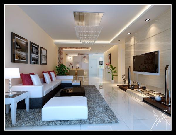 选用颜色光泽较为温暖的罗丹磁砖,发明了一个温馨的阳光通道,沙发环绕着茶几,沙发独立成组靠在一角,给人一种舒服安静的感觉。电视墙经过白石材相衬托,充分利用了房体的高度,营建了视觉上高敞宽广的效果。
