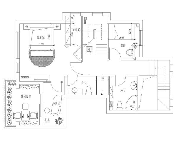 二层平面布置图。主要用于主人卧室、衣帽间、卫生间、休息室和的休闲露台,有着业主专属的各个生活区功能。
