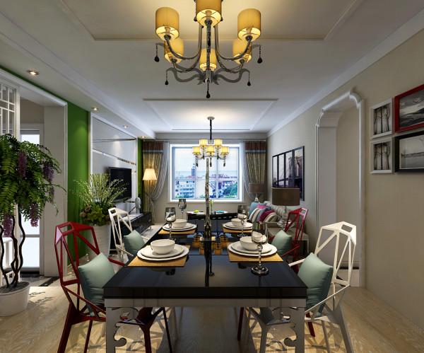 餐厅整体设计效果,餐椅用简约的钢架做为装饰,温馨浪漫