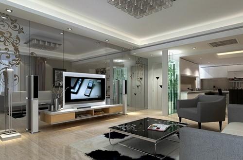 本案在设计手法上运用后现代风格,提升客厅的通透性。客厅电视背景通过灰镜的冷峻与橙黄色的对比彰显业主的个性。