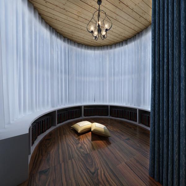 主卧室位置的阳台装修设计效果,阳台顶部吊桑拿板吊顶。