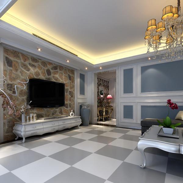 客厅设计回型吊顶,电视墙采用石材做背景墙