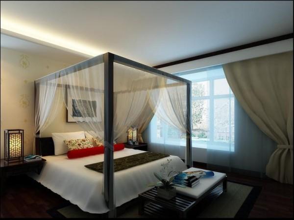 卧室的四柱床像取景框一般分割视野。床头灯还采用了中式古典经典的镂空雕刻设计。更加增加了卧室的古色古香之感。