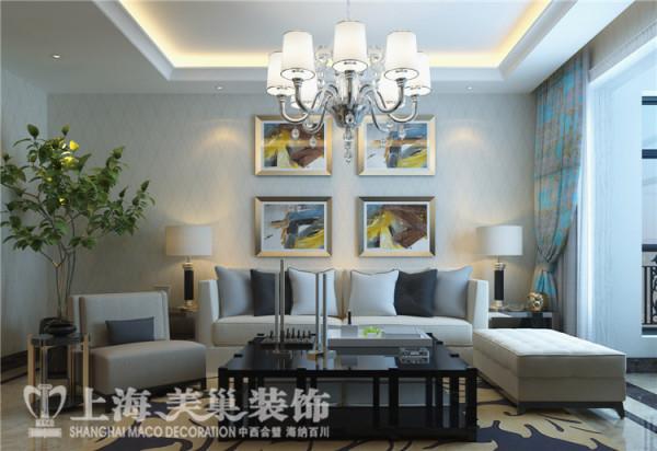 蓝堡湾189平五室两厅法式简约装修效果图--客厅