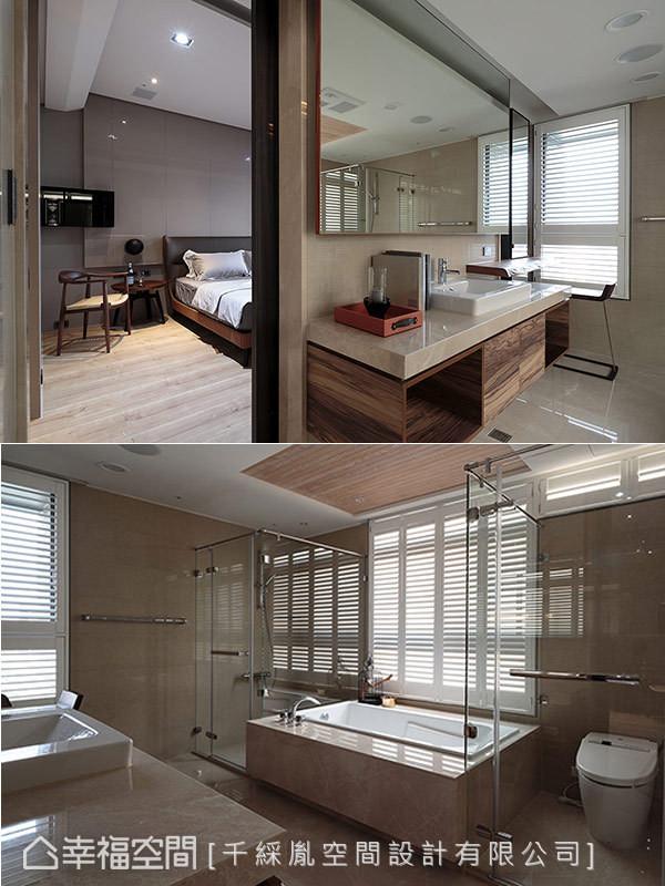 面积充裕的主卫浴空间,拥有完善的四件式卫浴规划。