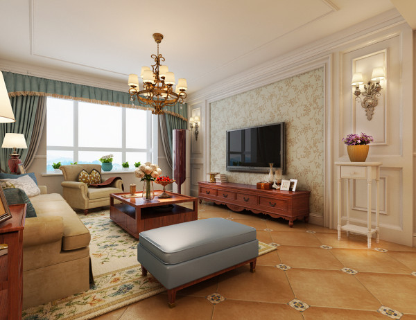 客厅的地面包括电视墙。