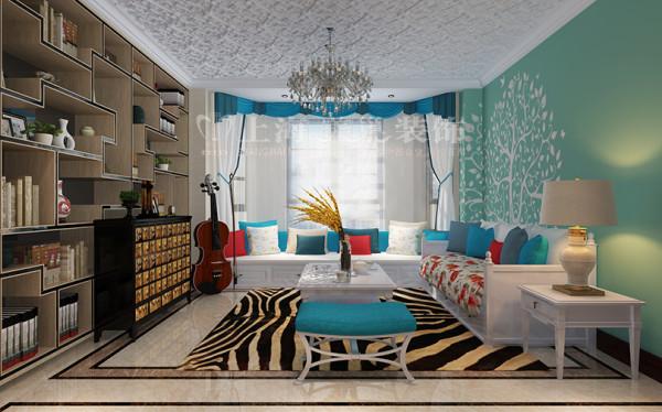 新中式装修普罗旺世600平别墅休闲区效果图,明亮的小厅给正个别墅空间添加几分活力,使得整个空间不限沉闷