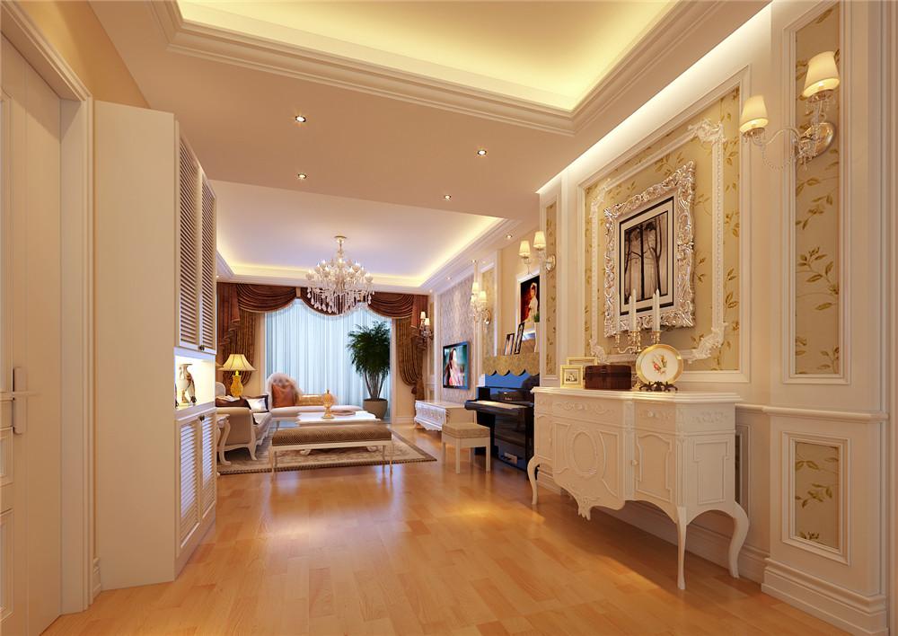 墙面由精致的墙纸,艺术漆和欧陆风格的窗帘,帷幔烘托氛围.图片