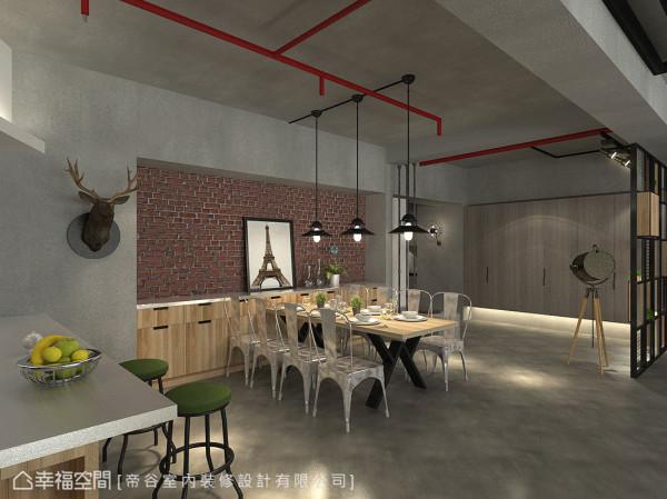 循动线折转,仿旧砖面的文化石材在开放式的公领域中,托衬出粗犷的餐厅主视觉。