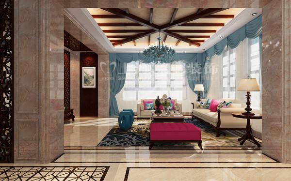 新中式装修普罗旺世600平别墅客厅电视沙发效果图,在沉闷的灰色调中加入几组高纯度颜色,给整个空间添加几分活力