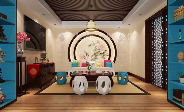 新中式装修普罗旺世600平别墅茶室效果图,在整个中式空间中大胆地改变了一些中式家具的颜色,从而改变人们对中式风格的看法