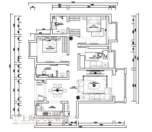 中豪汇景湾158平3室2厅装修户型图及平面布局方案