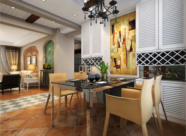 设计理念:开放式的餐厅很开阔,配有艺术的壁画,整个空间的格局显得格外活泼。 亮点:简单的餐桌配有淡黄色的椅子,立在一旁的白色橱柜,显得各位明亮大方。使人就餐时心情愉悦。