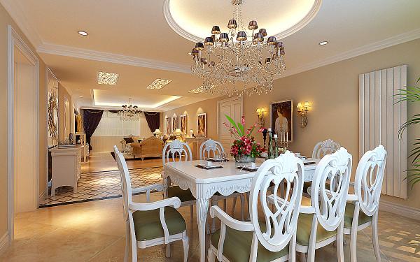 客餐厅设计以石膏吊顶造型设计,以白色的欧式家具为主题,用欧式雕花银镜和奢华壁纸加以点缀,配以羊毛地毯和温馨靠枕点缀,展示欧式经典的高贵与奢华。