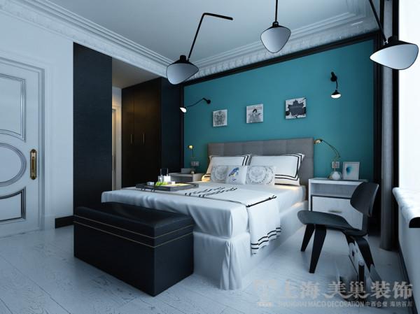 中豪汇景湾3号楼三室两厅法式简约装修案例-卧室侧面效果图