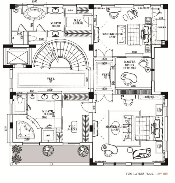 豪庭苑别墅——二层平面布局图