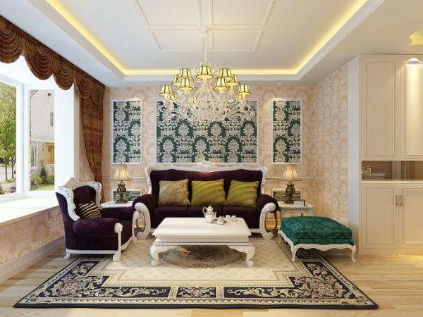 地面材料以石材或地板为佳。欧式客厅非常需要用家具和软装饰来营造整体效果。