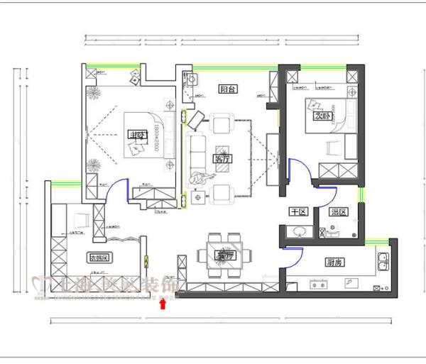 美景鸿城140平方三室两厅装修户型图