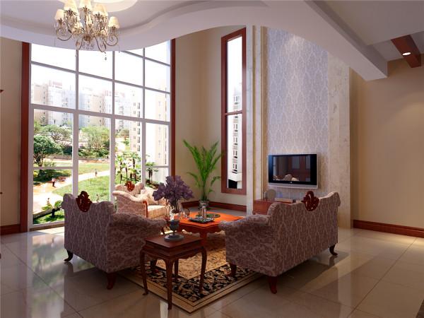 本设计采用简欧风格,小巧的吧台、布艺曲线的沙发配以拼花的复古地砖,把空间完美的分割开来,在欧式风格的家居空间里。