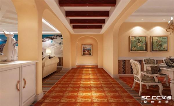 过道设计: 客厅结合了美式和地中海风格,整体采用暖黄色,淡淡的黄色透露出家的舒适感