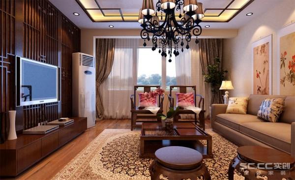 """客厅设计: 中式风格家具的摆放极其讲究""""对称""""的效果,沙发两侧的中式台灯,左侧的中式椅,都是双方对称,有种和谐统一之感"""