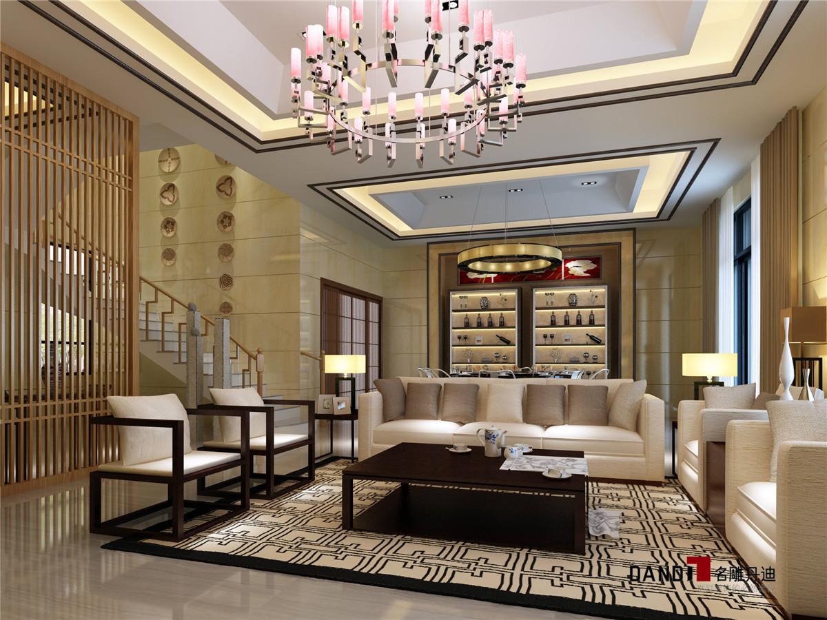 别墅新中式客厅装仹�b9��9f_新中式别墅客厅