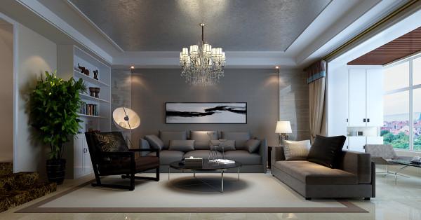客厅整体设计效果,色彩方面由灰色和白色整体控制。