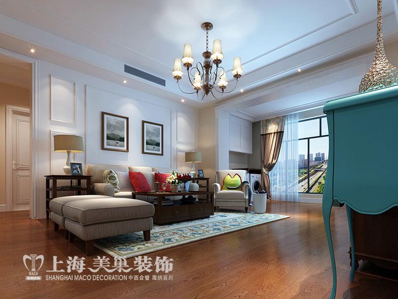 装修效果图案例——客厅沙发布局,在空间上采用极简化的美式元素来