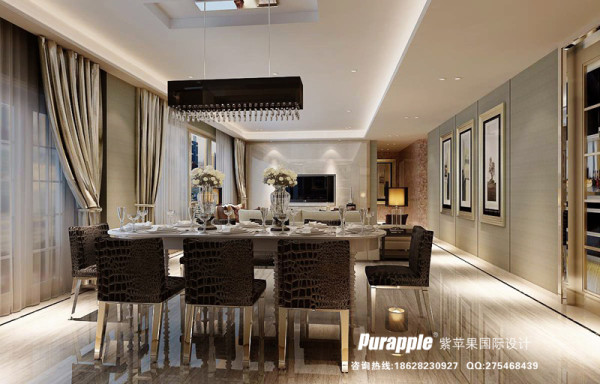 餐厅 效果图 现代风格 天鹅湖 成都紫苹果装饰