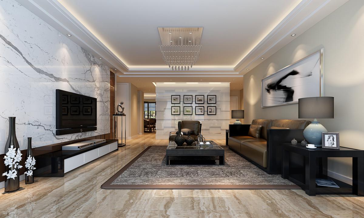 金林碧水120平米现代简约客厅装修效果图