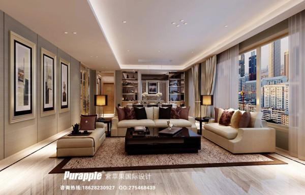 客厅 效果图 现代风格 天鹅湖 成都紫苹果装饰
