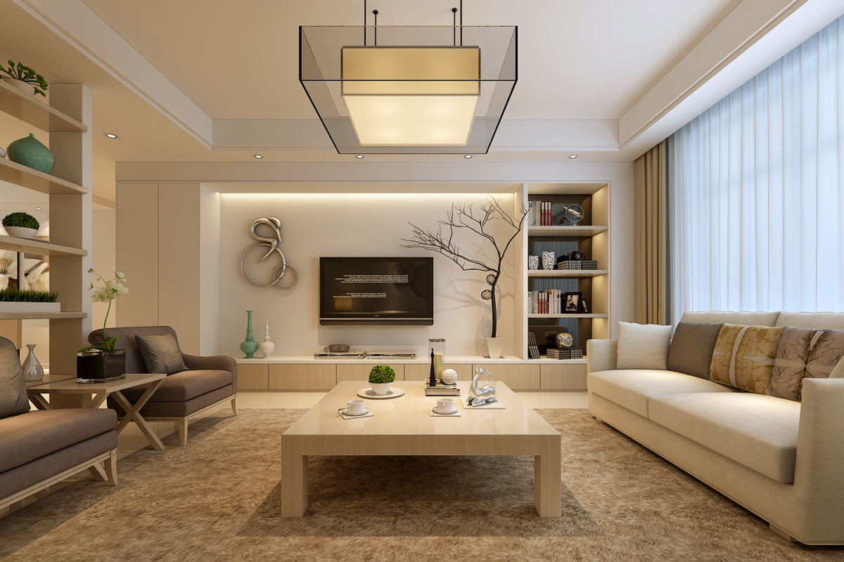 金林碧水100平米现代简约客厅装修效果图