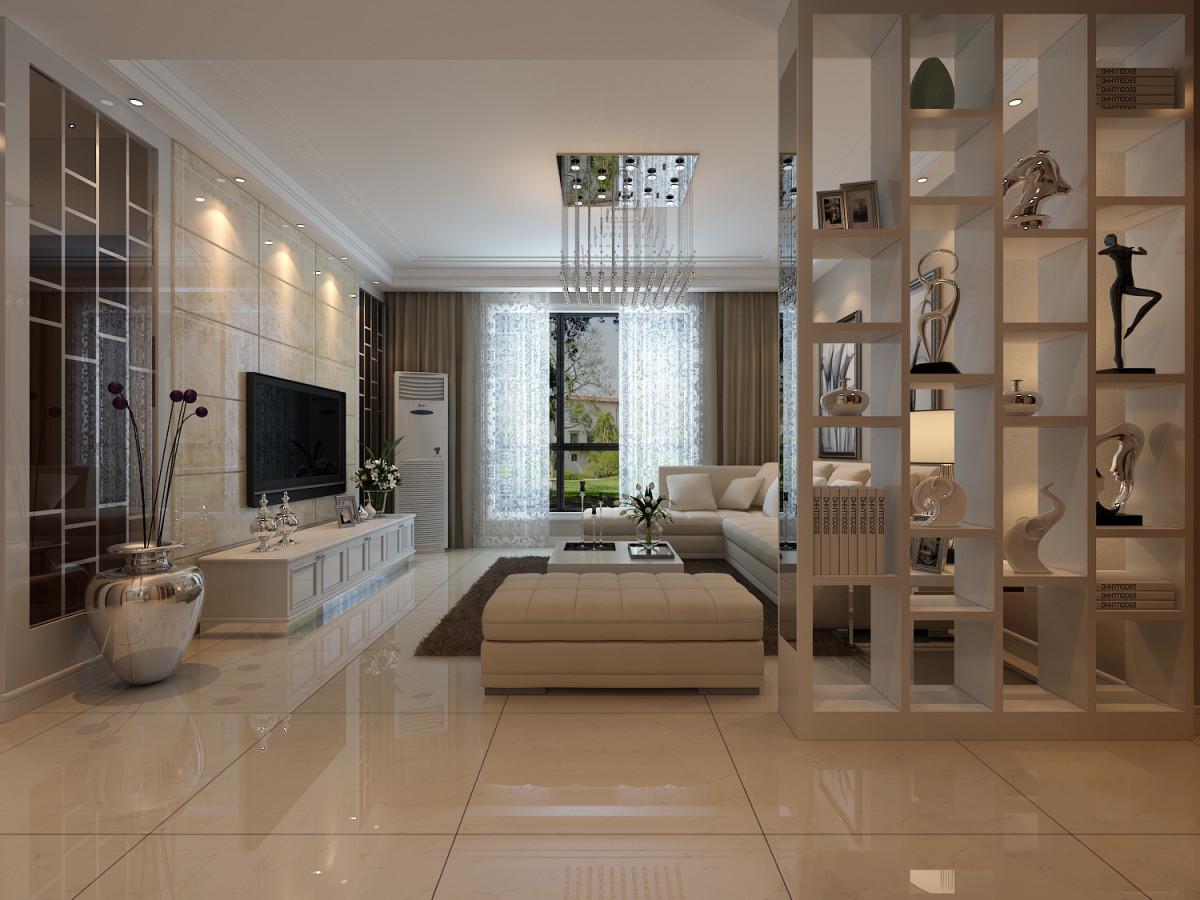 装修效果图  园城90平米现代简约客厅顶部用大型灯池