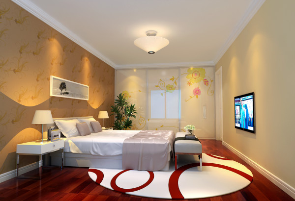 卧室是人们心灵和身体休息的地方,床头背景墙和整个空间结合,是整个房间最有特色的地方。浅黄色的壁纸再配以具有现代感的地毯,使整个房间温馨中不失活泼。
