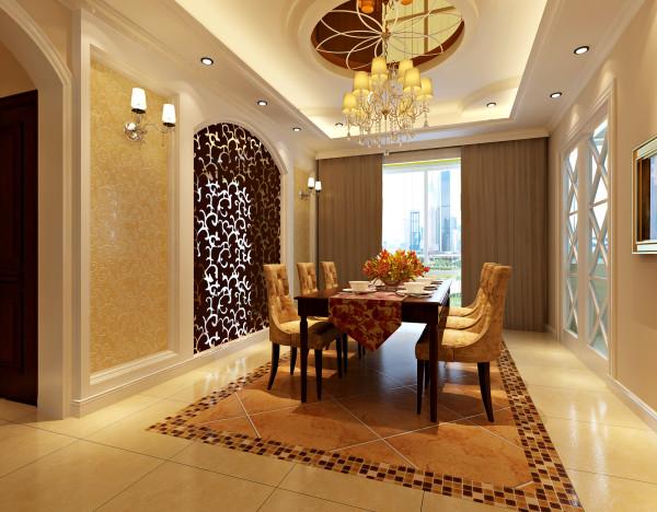 餐厅地面采用了同样的手法,凸显了华贵的餐桌!