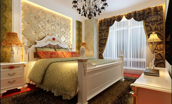卧室床头背景软包与壁纸装饰和整个空间鲜明对比,是整个房间最有特色的地方。深色的地板,给人舒适的休息空间。再配高贵典雅的水晶吊灯,将体现整个房间的档次一目了然。