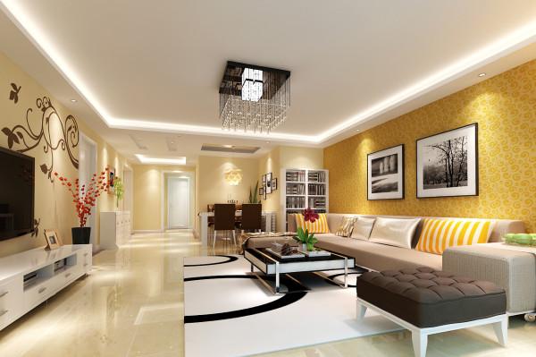 客厅及餐厅吊顶并没有过多累赘复杂的造型,简洁明亮。电视背景墙是以壁纸与花藤组合成的美丽画面,体现了主人的内蕴品性。沙发造型是简洁的单色块体组合沙发,大气整体以简为美。
