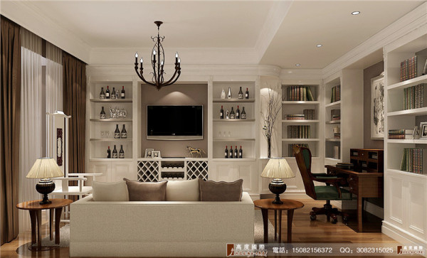 中海九号公馆客厅细节效果图--成都别墅装饰设计