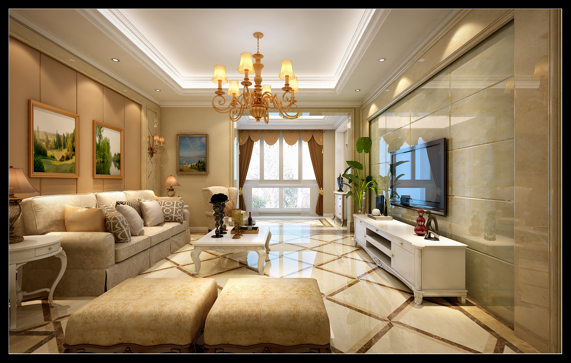 吊顶 沙发 背景墙 灯具 窗帘 客厅图片来自成都业之峰装修小管家在120