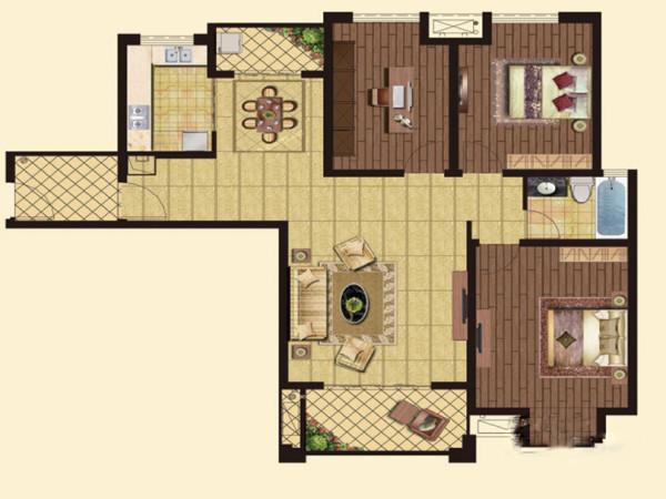 怡丰森林湖105平三室两厅现代简约风格装修案户型图