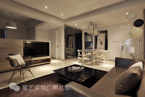 电视墙充当起隔断的角色,把客厅跟书房两大分区分开来,采用半遮式设计,又让整个空间通透自然。