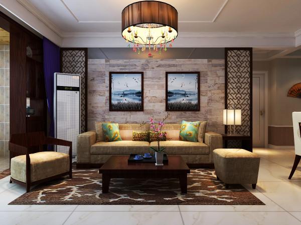 沙发背景墙的仿古锈地板,一副《观沧海》彰显着豪放的气势,浓郁的古典文学韵味洋溢其中。